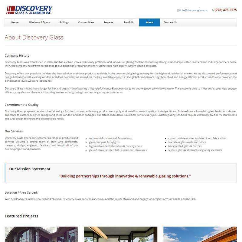 Discovery Glass & Aluminum Inc. About Page