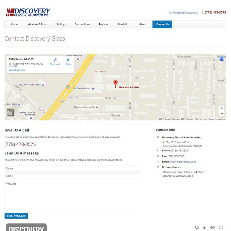 Discovery Glass & Aluminum Inc. Contact Page