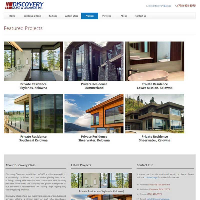 Discovery Glass & Aluminum Inc. Featured Projects Page