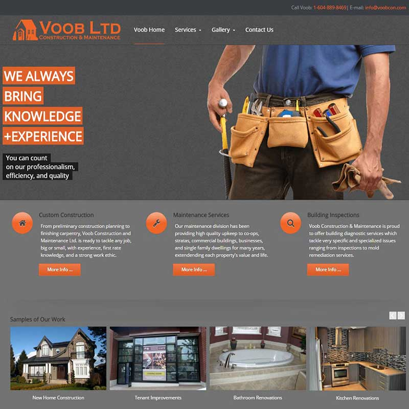 Voob Construction and Maintenance Home page