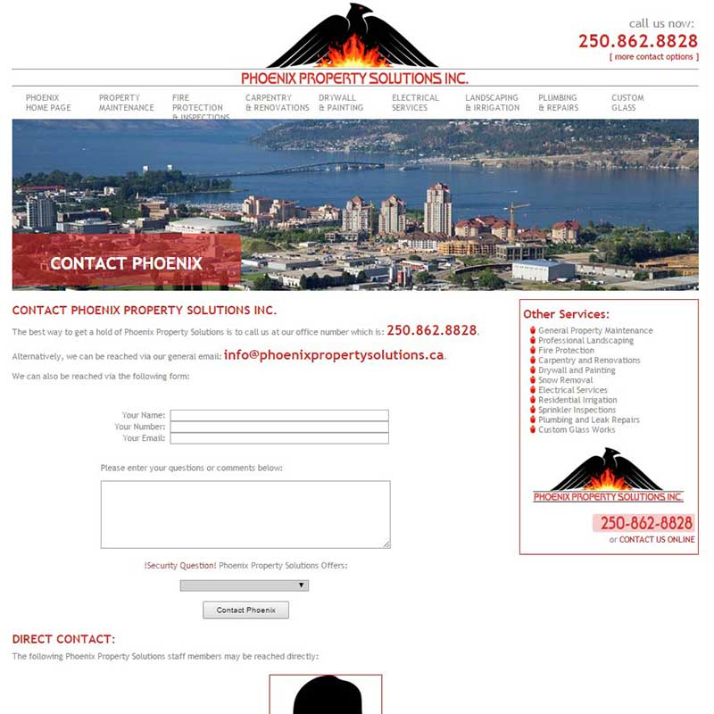 Phoenix Property Solutions Contact Information Page
