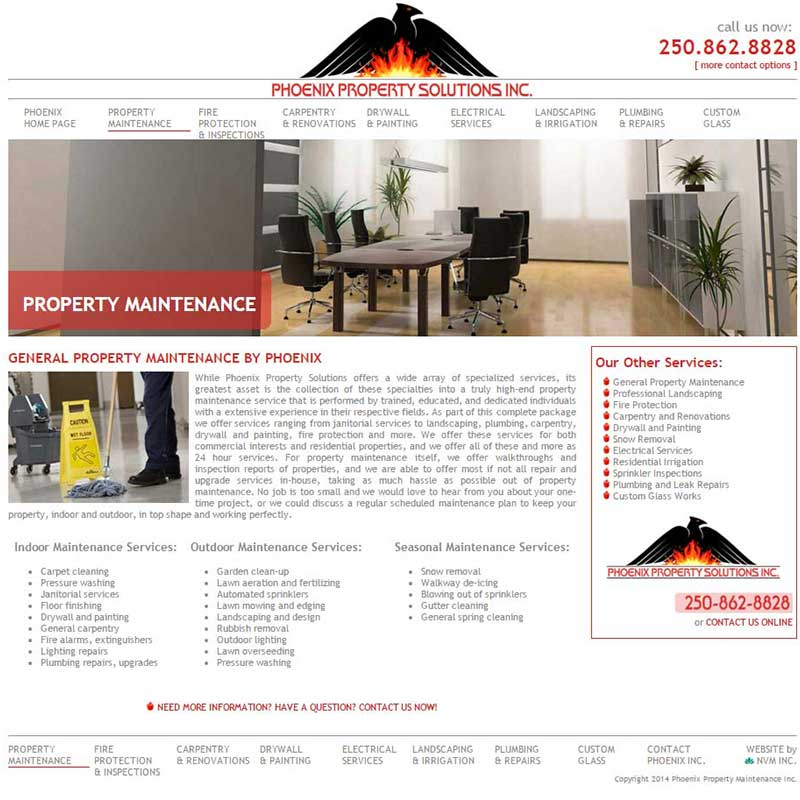 Phoenix Property Solutions Sample Services Page